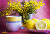 Still life with cup, lemon and flowers — Stock Photo