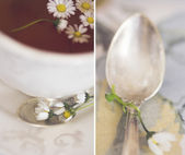 Collage with tea and spoon — Stock Photo
