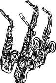 Saxofón — Vector de stock