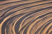 Tyre tracks on the tropical beach — Stock Photo