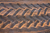 Tyre tracks on the tropical beach — Stock Photo