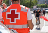 Ambulance on bicycles race — Stock Photo