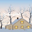 Hut in winter forest — Stock Vector