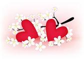 Coração e ramo de floração — Vetor de Stock