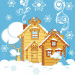 Stock Vector: Houses in winter