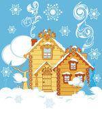 房子在冬天 — 图库矢量图片