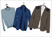 Men's clothing on hangers — Stock Vector