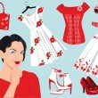 Woman choose clothes — Imagen vectorial