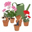 Potted flowers and watering can — Vector de stock