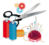 Tools and materials for sewing — Stock Vector