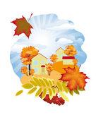 Podzim v obci — Stock vektor