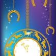 New Year background with clock and horseshoes — Stock Vector