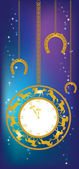 New Year background with clock and horseshoes — ストックベクタ