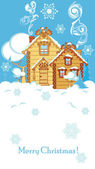 Casas en invierno — Vector de stock
