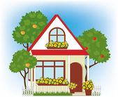 House and garden — Stock Vector