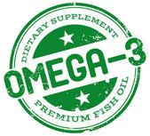 Omega 3 stamp — Stock Vector