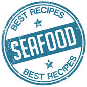 Seafood recipes stamp — Stock Vector