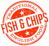 Fish and chips stämpel — Stockvektor