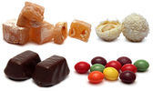 Various candy on white background - sweet food — Stock Photo