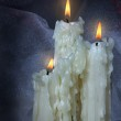 Three beautiful old candles. — Stock Photo