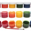 Children's paints in jars and brush isolated — Stock Photo