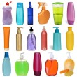 17 colored plastic bottles with liquid soap and shower gel isolated on white background . Studio shooting. Set. — Stock Photo
