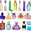 Set of different glass bottles of perfume isolated on a white background. Photography Studio. 17 objects. — Stock Photo #33692603