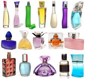 Set of different glass bottles of perfume isolated on a white background. Photography Studio. 17 objects. — Stock Photo
