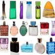 Stock Photo: 17 colored glass bottles of perfume isolated on white background . Studio shooting. Set.