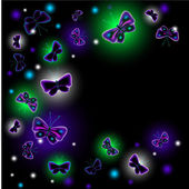 EPS10 vector illustration. Glowing background with Fantastic luminescent butterfly — Stock Vector