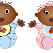 Twin african Baby Boy And Girl.Vector illustration Two children — Stock Vector