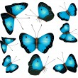 Blue butterflies isolated on a white background — Stock Vector