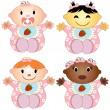 Vector Illustration 4 babies girl. Four children of girl of different races isolated on white background — Stock Vector #34519171