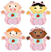 Vector Illustration 4 babies girl. Four children of the girl of different races isolated on a white background — Stock Vector
