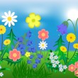 EPS10 vector illustration Bright wild flowers against the sky and a grass — Grafika wektorowa