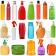 Stock Photo: Colored plastic bottles with liquid soap and shower gel.