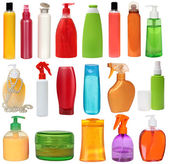 Colored plastic bottles with liquid soap and shower gel. — Stock Photo