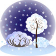 EPS10 vector illustration.Winter landscape, trees and bushes covered with snow — Imagens vectoriais em stock