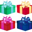 Set of four colorful vector gift boxes Isolated On White Background — Stock Vector #36017281