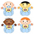 Vector illustration of 4 babies. Four children of the boy of different races isolated on a white background — Stock Vector