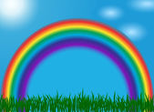 Summer landscape with a rainbow, the blue sky, the sun, clouds and a green grass. vector illustration — Vetorial Stock