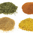 Piles of different spices Isolated On White Background. — Stock Photo