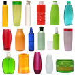 17 colored plastic bottles with liquid soap and shower gel isolated on white background . Studio shooting. Set. — Stock Photo #41003799
