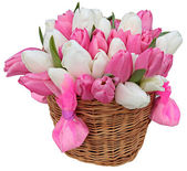 Bouquet of Pink and White Tulips — Stock Photo