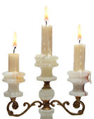 Burning old candle vintage golden candlestick. onyx — Stock Photo