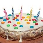 Cake With Burning Candles, Isolated White Background — Stock Photo #44014109