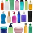 Colored plastic bottles with liquid soap and shower gel. — Stock Photo #44807189