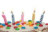 Cake With Burning Candles, Isolated  White Background — Stock Photo