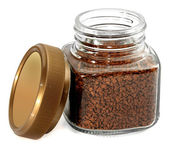 Jar instant coffee on  white background — Stok fotoğraf