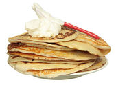 Pile of pancakes isolated on white background — 图库照片